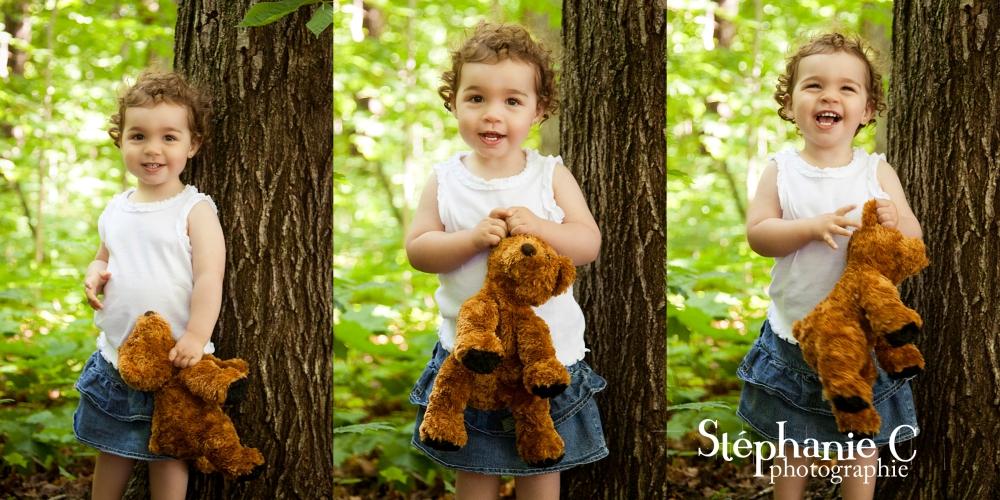 Séance photo enfant dans la nature avec ourson