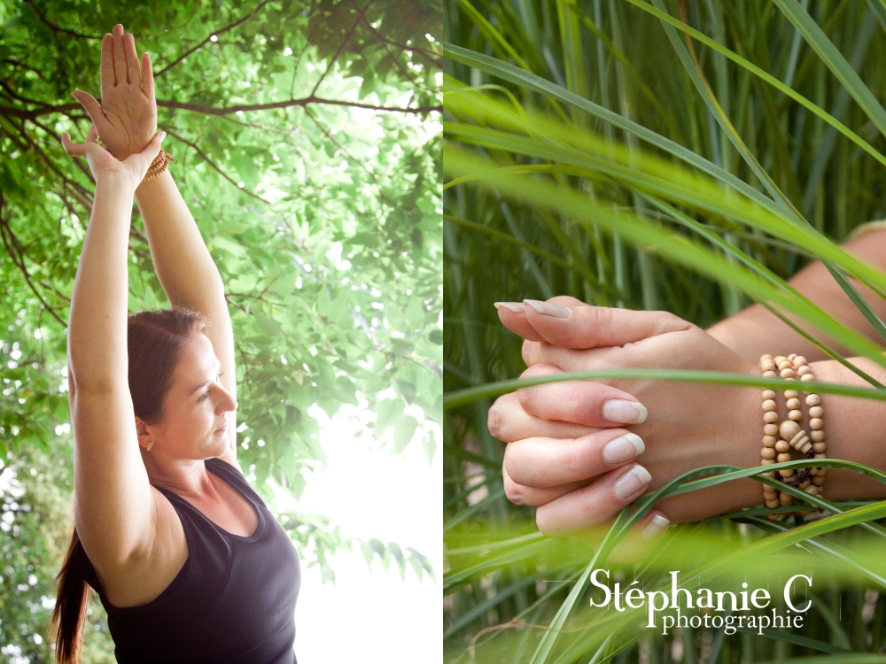 Femme en posture de yoga et main en méditation